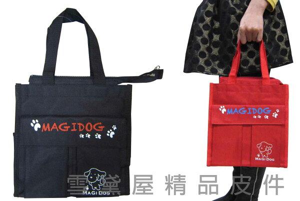 ~雪黛屋~MAGI-DOG 提袋大容量餐袋中容量才藝袋手提袋簡單袋上學書包以外放置教具品雨衣傘便當袋台灣製造#5655