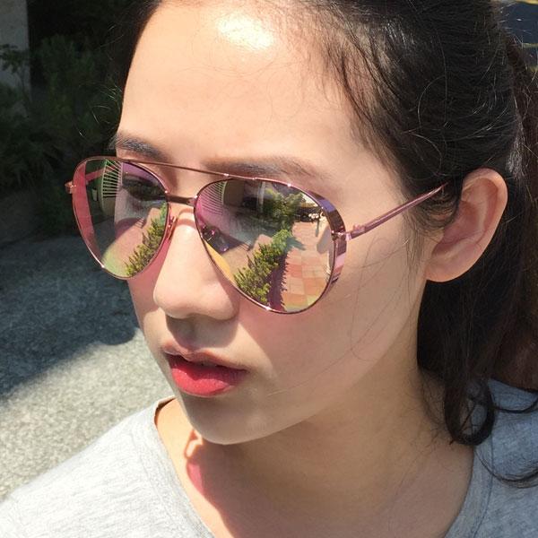 粉紅鏡框 側邊加厚 雷朋 墨鏡 金屬細框 雷射反光水銀鏡面 玫瑰金 明星范冰冰李小璐 正韓太陽眼鏡