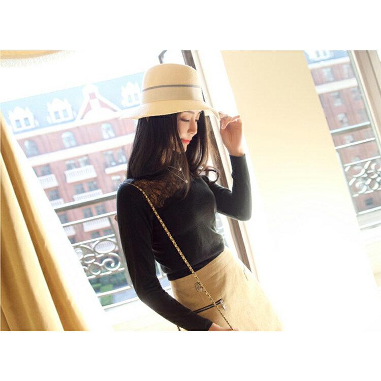 長袖棉麻上衣 異材質拼接蕾絲貼身長袖上衣【KLS50】 BOBI  08/25 2
