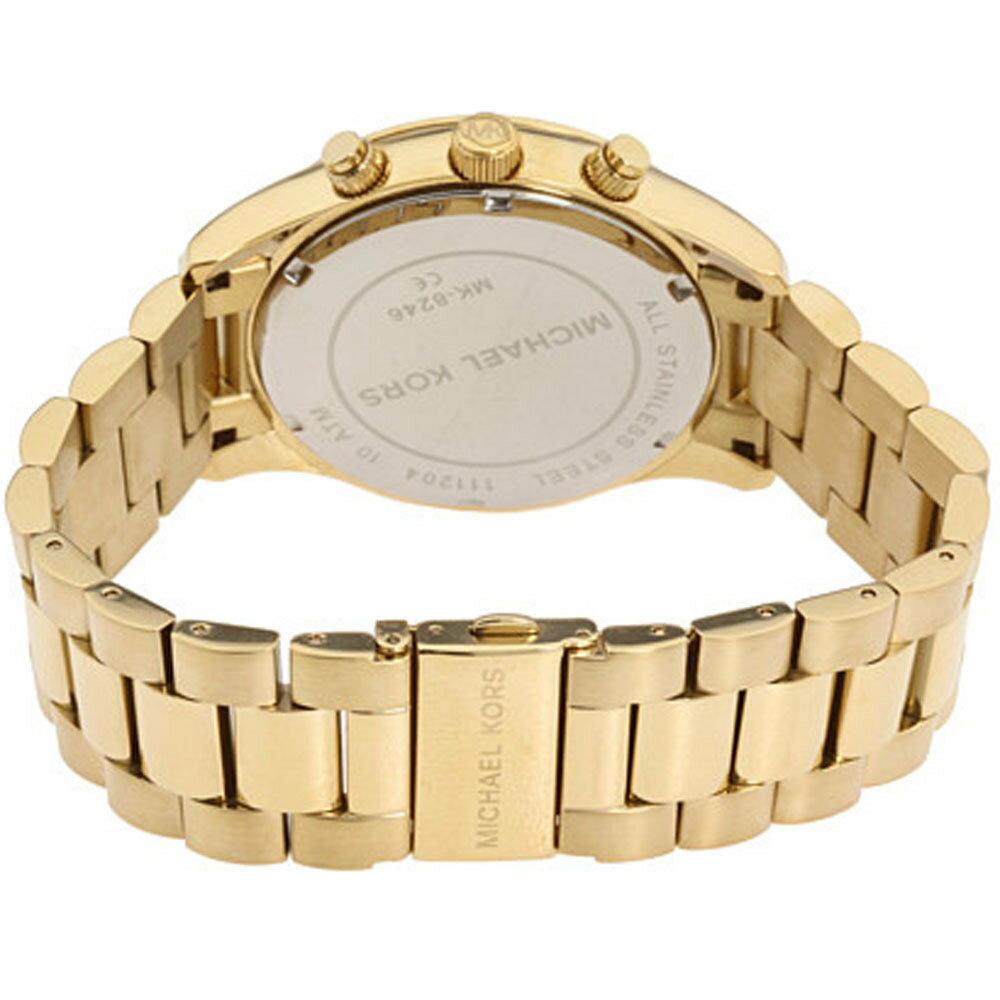 【限時8折 全店滿5000再9折】Outlet正品代購 Michael Kors MK 金屬金色 男女款 三眼 計時 手錶 腕錶 MK8246 2