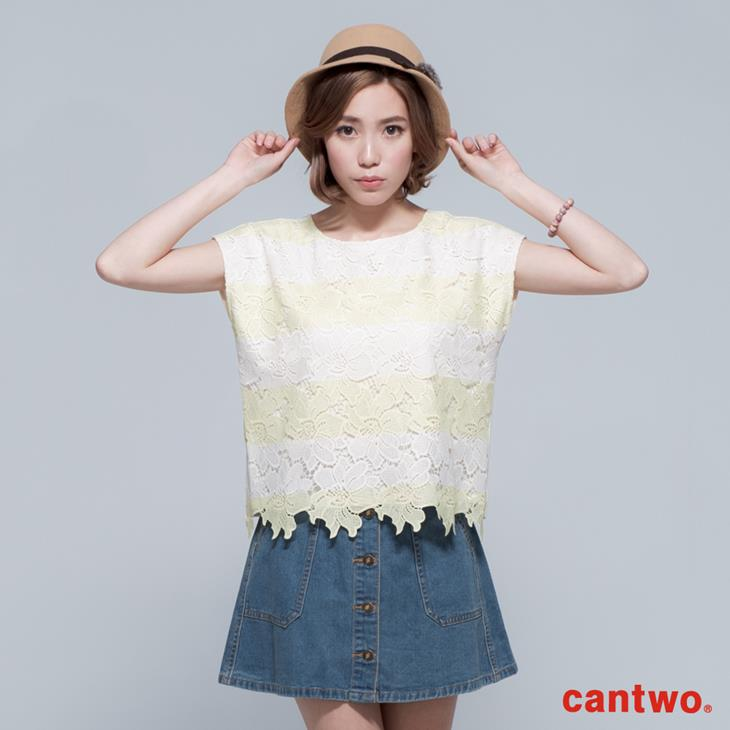 cantwo鏤空雙色條紋蕾絲上衣(共三色) 0