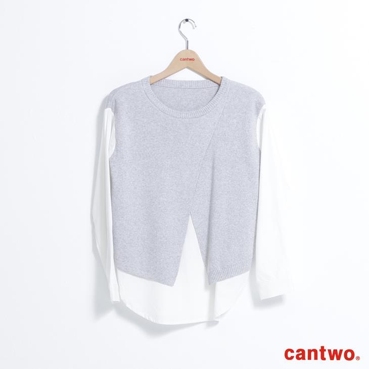 cantwo斜衩拼接假兩件針織上衣(共二色) 6