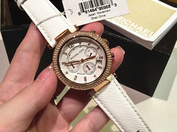美國Outlet 正品代購 MichaelKors MK 玫瑰金鑲鑽 白色皮帶三環計時手錶腕錶 MK2281 7