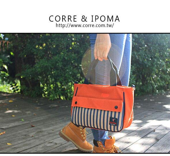 ★CORRE【CG71074】帆布印刷條紋手提斜背包 ★ 藍色/紅色/橘色 共三色 0