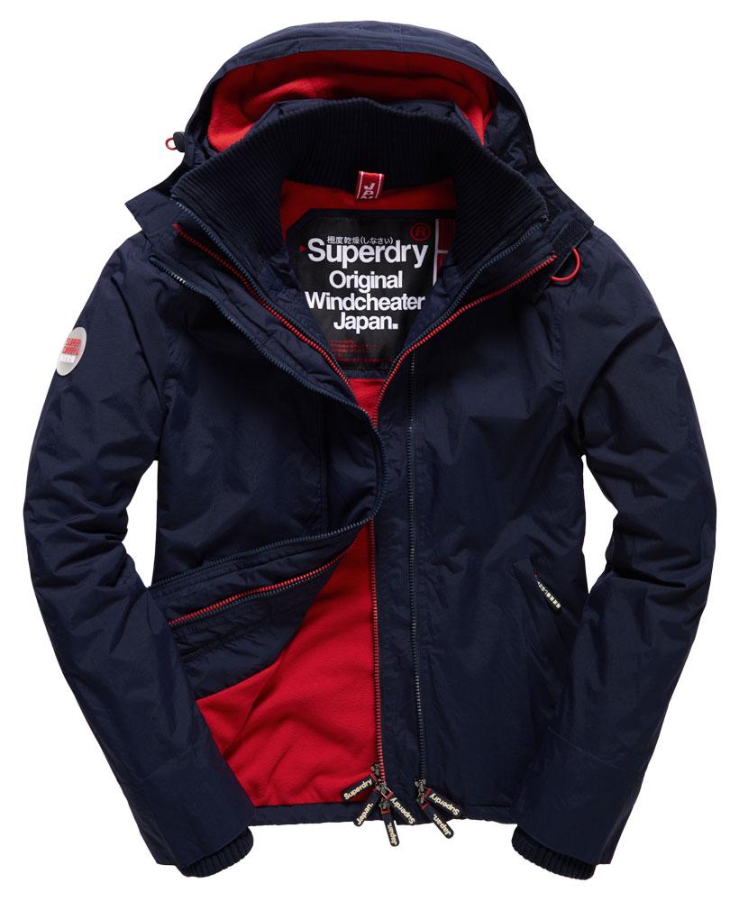 [男款] Outlet英國 極度乾燥 Pop Zip Hooded系列 男款 三層拉鍊 連帽防風衣夾克 海軍藍/叛逆紅 0