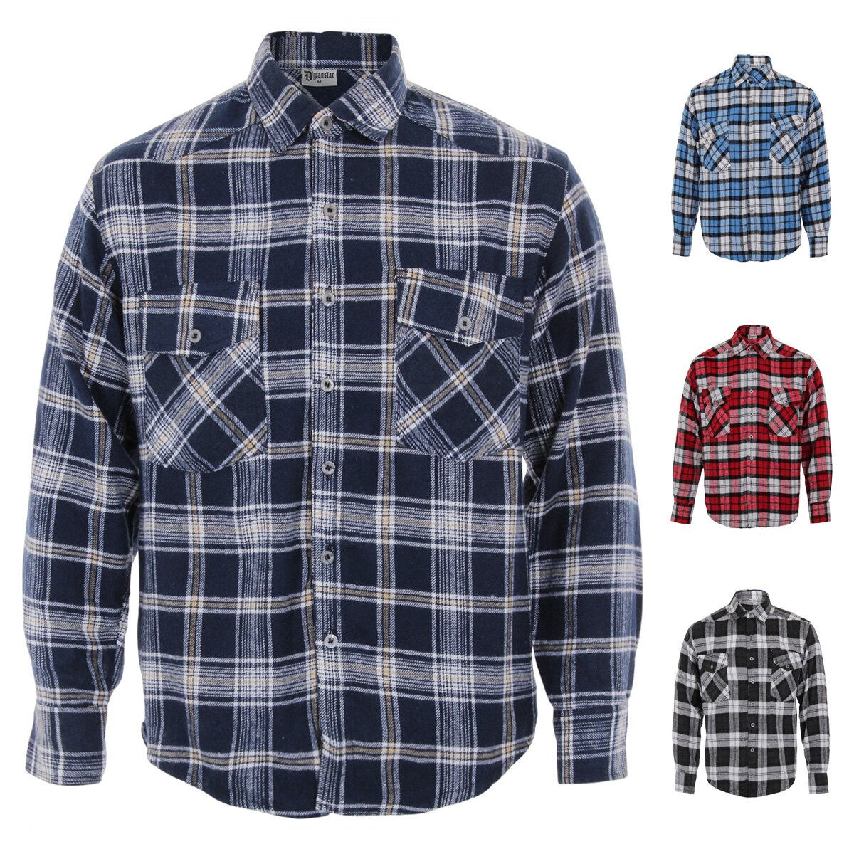 Mens Checked Flannel Shirt Long Sleeve Lumberjack Top