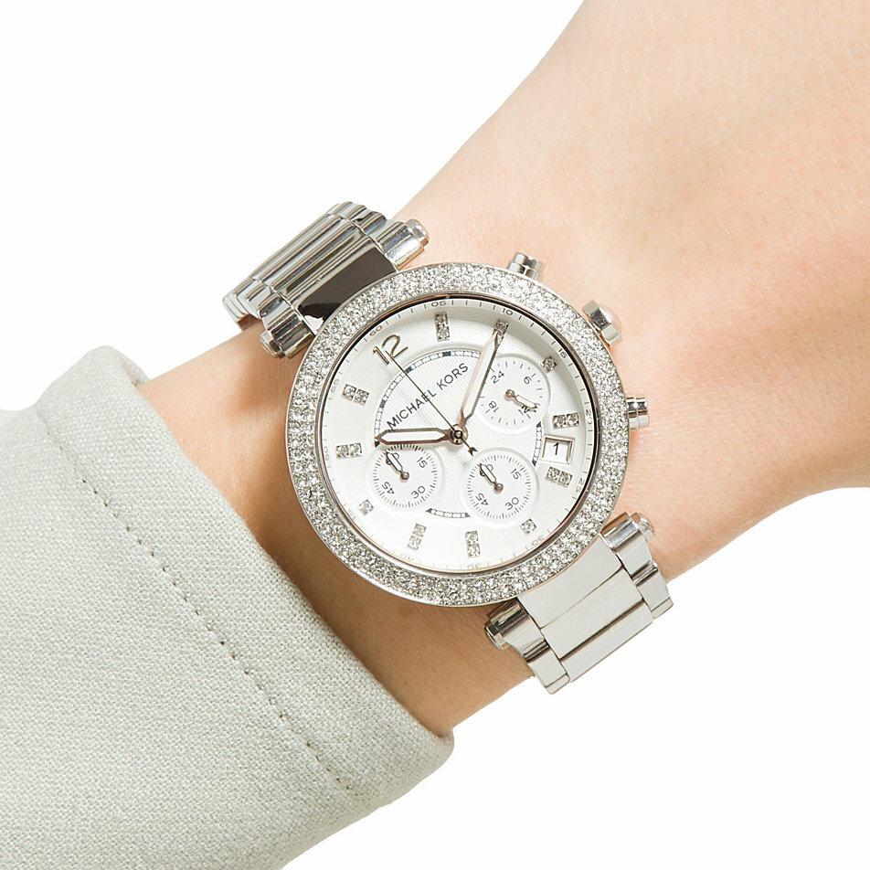 美國Outlet正品代購 MichaelKors MK  銀色陶瓷 水鑽 三環 手錶 腕錶 MK5615 5