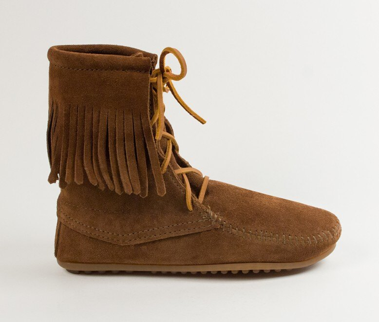 【Minnetonka 莫卡辛】深棕色 - 經典綁帶流蘇短靴 2
