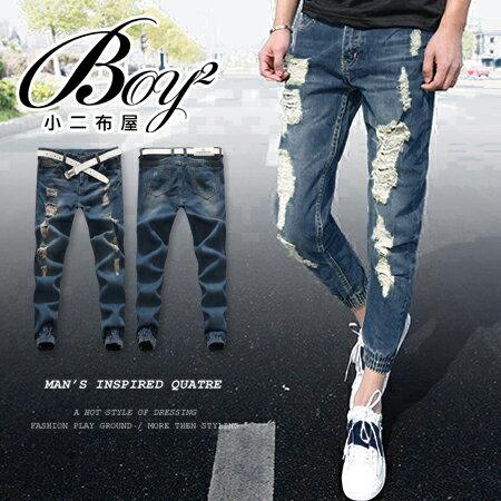 ☆BOY-2☆【NQ95035】 韓版休閒破壞牛仔縮口褲 0