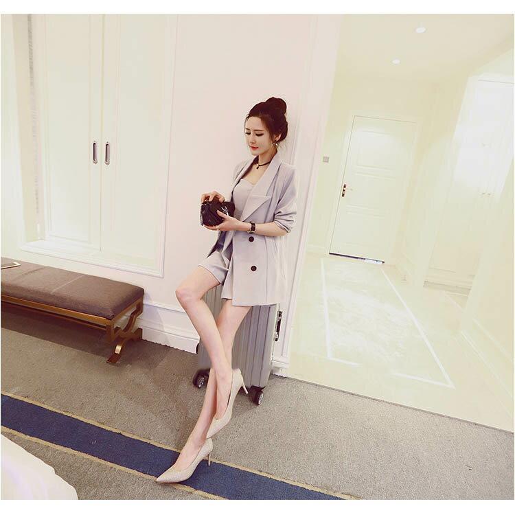 長袖褲裝 平口連身短褲排釦西裝外套套裝【KLTC04】 BOBI  09/08 1