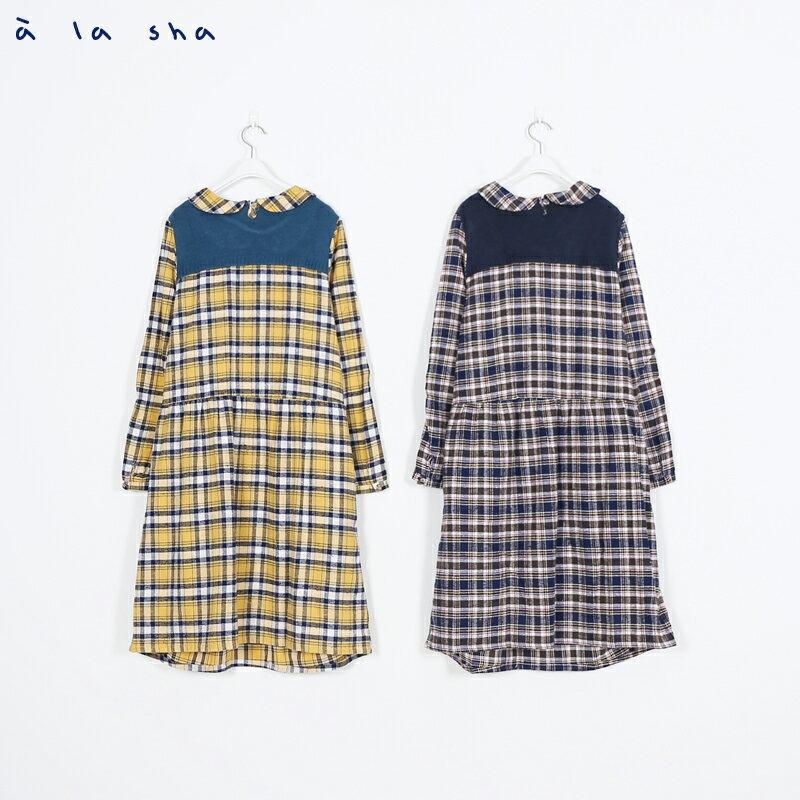 a la sha Qummi 格紋與針織拼接洋裝 3