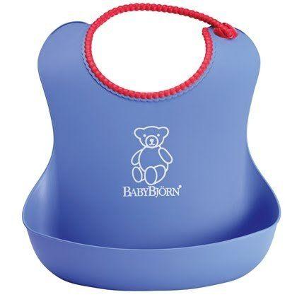瑞典 Baby Bjorn Soft Bib 軟膠防碎屑圍兜 藍色款