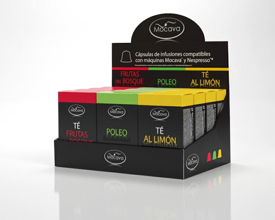 Pack 120 cápsulas (40) TÉ FRUTAS DEL BOSQUE, (40) POLEO, (40) TË LIMÓN compatibles con Nespresso 0