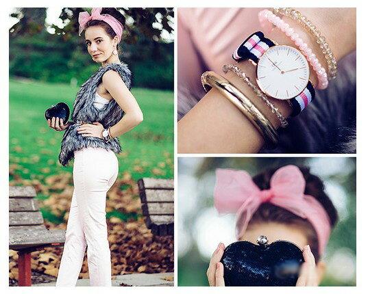 瑞典正品代購 Daniel Wellington 0605DW 銀  尼龍 帆布錶帶 女錶手錶腕錶 36MM 1