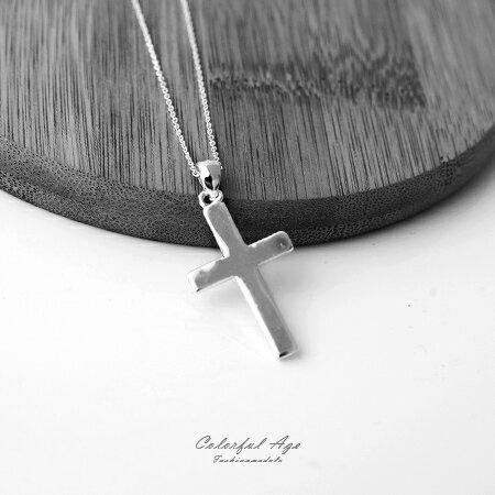 925純銀項鍊 經典十字架造型鎖骨鍊頸鍊短鍊 抗過敏材質 柒彩年代【NPB12】 0