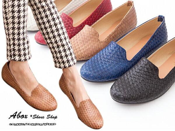 格子舖*【ANW657】*限時免運*MIT台灣製 復古仿編織皮革設計 牛津平底包鞋 紳士平底包鞋 六色 0