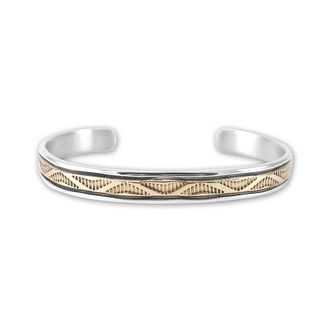 【現貨商品】【Indian Jewelry】印地安圖騰刻印鍍14K金手鐲(Navajo-054-10141) 2