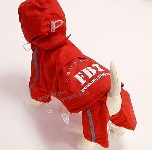 ☆狗狗之家☆FBI紅色兩截設計風衣式寵物雨衣(2~9號)柴犬,哈士奇