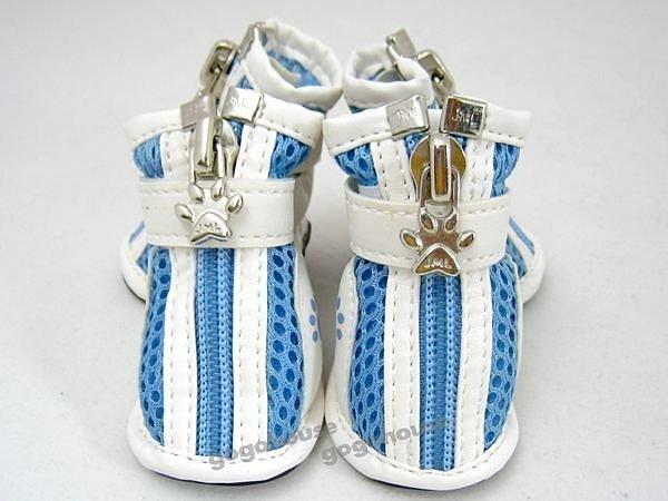 ☆狗狗之家☆狗腳印防滑透氣寵物運動鞋~藍色