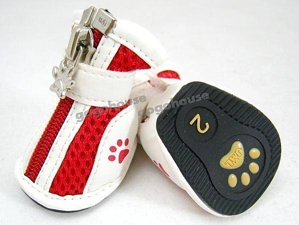 ☆狗狗之家☆狗腳印防滑透氣寵物運動鞋~紅色