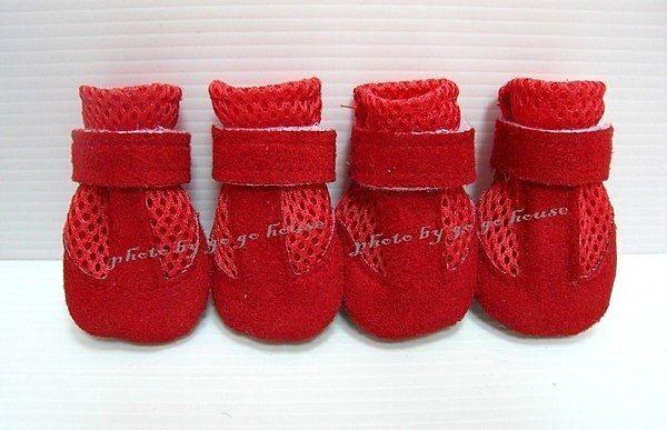 ☆狗狗之家☆紅色網狀透氣麂皮輕便鞋(好走/易適應)
