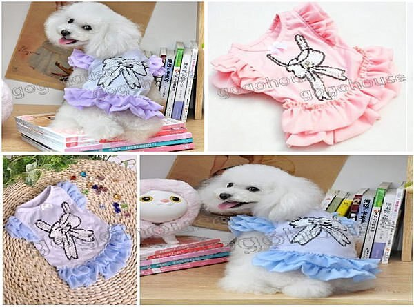 ☆狗狗之家☆蝴蝶結亮片雪紡飛袖裙~粉,紫,藍