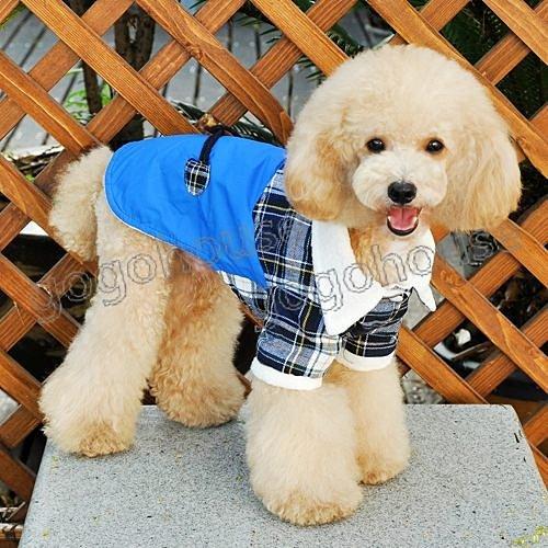 ☆狗狗之家☆牛角扣羊羔絨格紋保暖外套~藍色