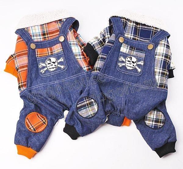 ☆狗狗之家☆假兩件骷髏牛仔格紋吊帶褲~藍色,橙色