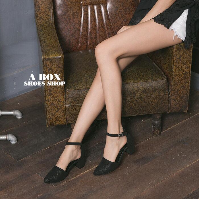 格子舖*【KDW9003】MIT台灣製 韓版流行皮革材質 釦環穿拖 5CM中粗跟瑪莉珍鞋 尖頭包鞋 2色 1
