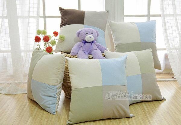 ~喨晶晶 工坊~簡約格調 棉布拼接抱枕套靠枕套 40^~40CM 不含枕心 超 120元