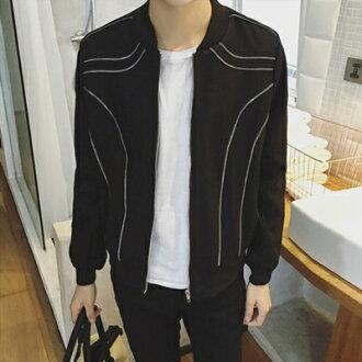 風衣外套短版毛呢大衣-歐美風格獨特拉鍊裝飾男外套73ip17【獨家進口】【米蘭精品】