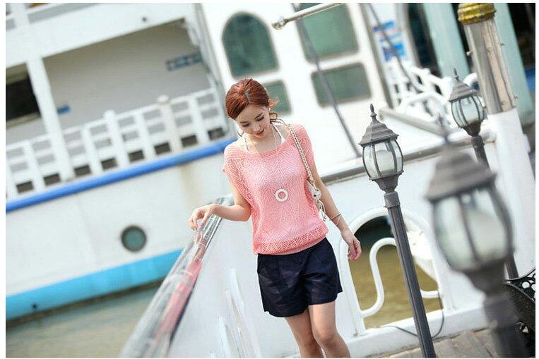 韓版背心針織衫 艾爾莎 小包袖鏤空洞洞薄款針織罩衫上衣【TAE2153】 2
