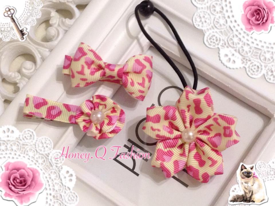 Honey Q~ 粉紅豹甜美珍珠小花.小蝴蝶髮夾.櫻花髮束 ~  好康折扣