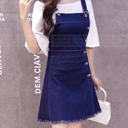 吊帶裙 - 單排釦小口袋下擺毛邊吊帶牛仔裙【29128】藍色巴黎-現貨+預購 1