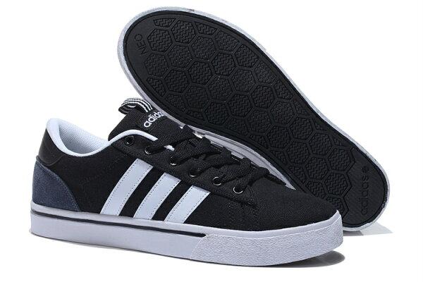 2015新款 愛迪達 ADIDAS NEO系列 低幫帆布 黑白 情侶鞋