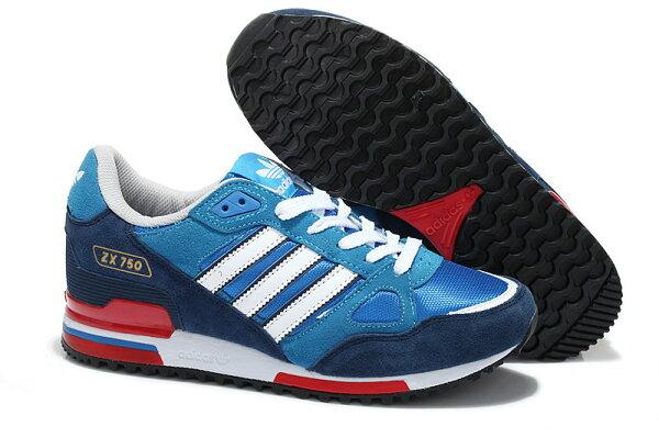 Adidas/愛迪達 ZX750系列 男女鞋 慢跑鞋 運動休閒鞋 情侶鞋(36—45寶藍白)