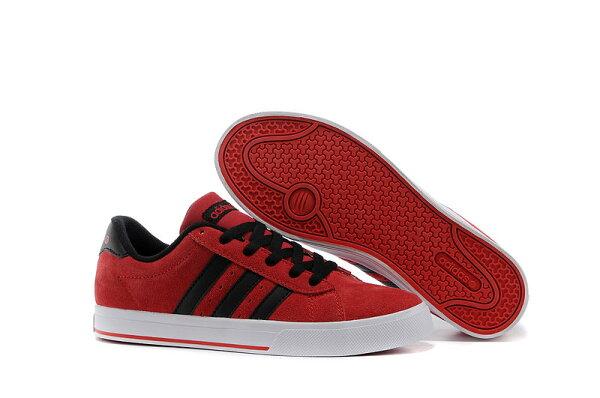 Adidas/愛迪達 NEO低幫系列 男女帆布鞋 情侶板鞋 潮流休閒鞋(36—45黑紅)