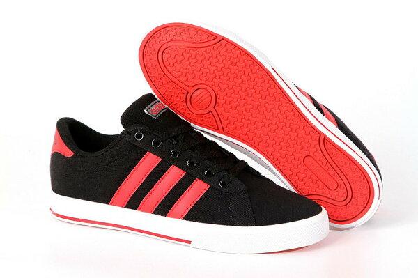 Adidas/愛迪達 NEO帆布系列 男女鞋 情侶板鞋 潮流休閒鞋(36—45黑色)