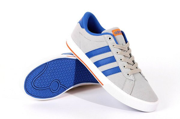 Adidas/愛迪達 NEO帆布系列 男女鞋 情侶板鞋 潮流休閒鞋(36—45灰藍)