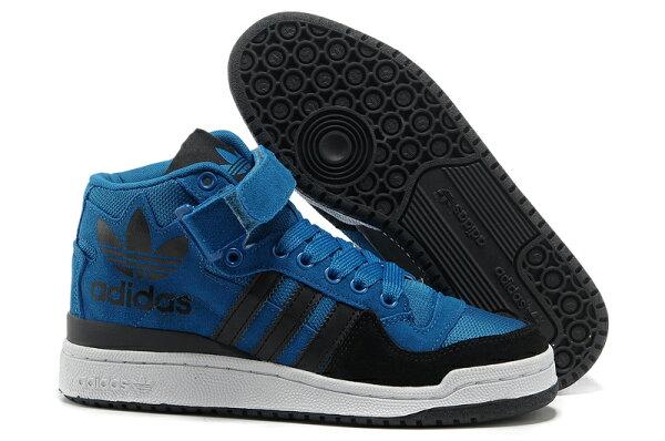 Adidas/三葉草 愛迪達 forum 大三葉草系列 G60543 高幫情侶款板鞋 男女生鞋 運動休閒鞋 慢跑鞋(深青蘭36-44)