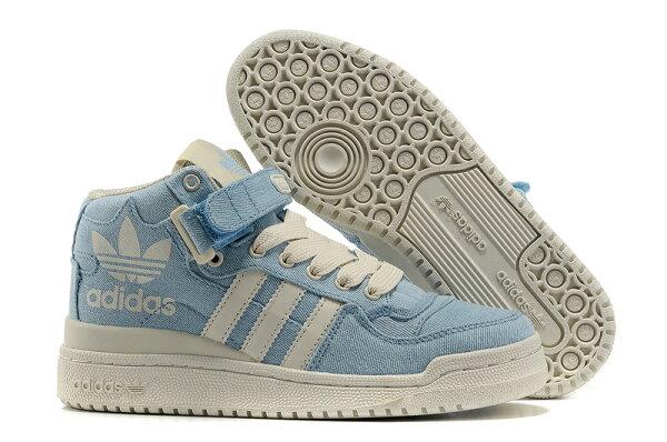 Adidas/三葉草 愛迪達 forum 大三葉草系列 G50832 高幫情侶款板鞋 男女生鞋 運動休閒鞋 慢跑鞋(牛仔藍36-44)