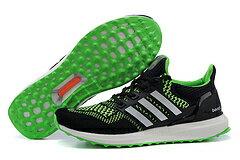 Adidas ultra boost男女運動跑步鞋 黑綠 男鞋