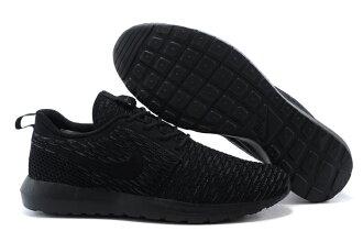 耐克倫敦編織飛線Nike Roshe Run Flyknit 677243系列 全黑 男女鞋
