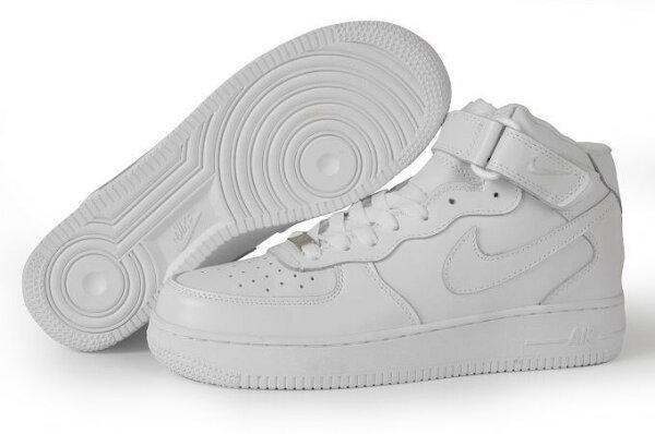 NIKE AIR FORCE 1 NK AF1 空軍一號 新經典情侶板鞋 全白 高幫 男女鞋