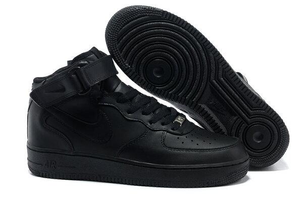 NIKE AIR FORCE 1 NK AF1 空軍一號 新經典情侶板鞋 全黑 高幫 男女鞋