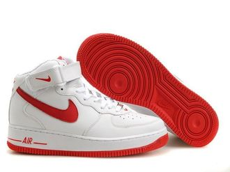 NIKE AIR FORCE 1 NK AF1 空軍一號 新經典情侶板鞋 白紅 高幫 男女鞋