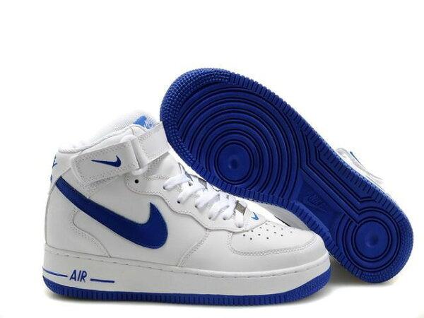 NIKE AIR FORCE 1 NK AF1 空軍一號 新經典情侶板鞋 白藍高幫 男女鞋