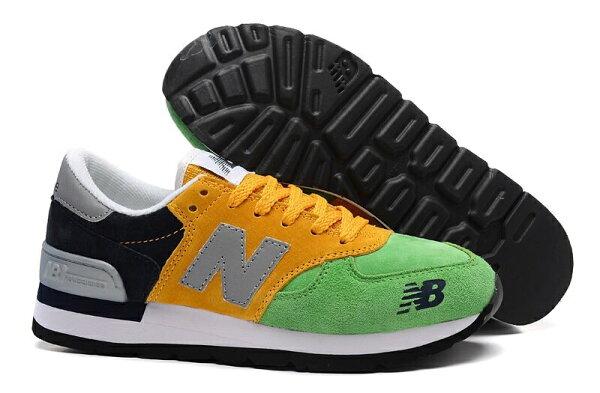 New Balance/新百倫 M990HL 巴西國旗系列 復古鞋 男女鞋 跑步鞋 情侶運動休閒鞋(綠黃黑36-44)