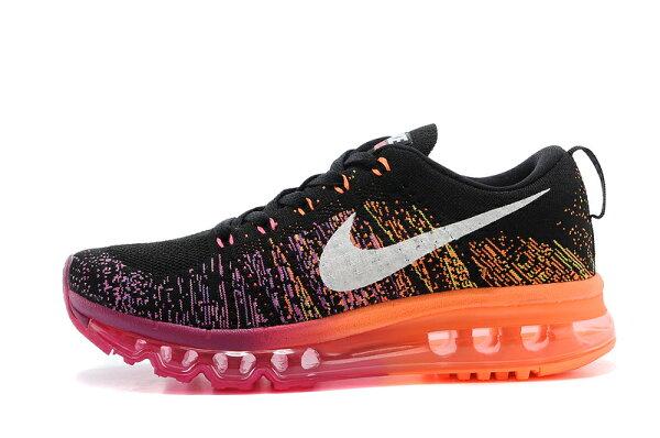 耐克/Nike air max 全掌彩虹氣墊 女生運動休閒鞋 慢跑鞋(黑玫紅36-39)