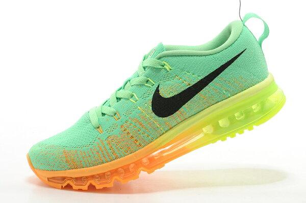 耐克/Nike air max 全掌彩虹氣墊 男生運動休閒鞋 慢跑鞋(淺綠桔40-45)